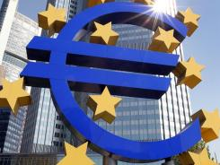 The logo of the European currency Euro stands in front of the European Central Bank (ECB) in Frankfurt.