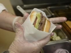 A finished Dave's Hot 'N Juicy Cheeseburger in the lab at Wendy's  international headquarters in Dublin, Ohio.