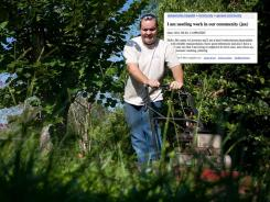 Lawrence Gales does lawn work for a client he found through a Craigslist classified ad. He has been doing odd jobs in Jacksonville so he can feed his 3-year-old son.