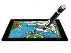 The Crayola ColorStudio HD app and iMarker Digital Stylus costs $29.99 and simulates Crayola crayons when it touches an iPad.