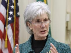 In this file photo, Health and Human Services Secretary Kathleen Sebelius speaks in Seattle.