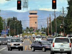 The control tower at Rogue Valley International-Medford Airport as seen from the road in Medford, Ore.