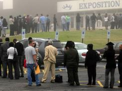 A line Oct. 12 at a job fair in Fayetteville, N.C.