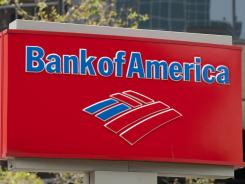 This file photo shows a Bank of America sign outside a bank branch in Arlington, Virginia.