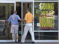 A Borders book store in Solon, Ohio, displays going-out-of-business signs on Aug. 18.
