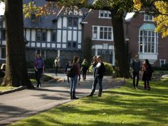 Students on the campus of Sarah Lawrence College in Bronxville, N.Y.