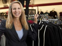 TJX CEO Carol Meyrowitz, seen in a TJ Maxx store in Framingham, Mass., says 85% of what they sell is from the same season and same year it was designed for.