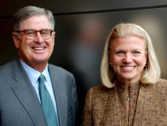 "IBM picked Virginia M. ""Ginni"" Rometty (right) to replace Samuel J. Palmisano (left) as the company's new CEO."