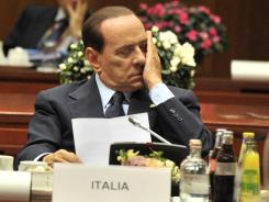 Italian Prime Minister Silvio Berlusconi during the meeting of Heads of State of the Euro area Oct. 23, 2011.