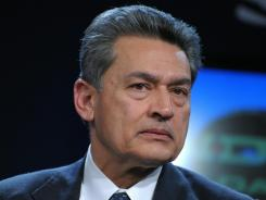 Rajat Gupta, senior partner emeritus at McKinsey and Company, listens during a televised session by Indian NDTV at the World Economic Forum  on Jan. 28, 2010 in Davos.