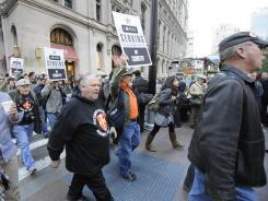 """Occupy Wall Street"" protesters Wednesday in NYC's lower Manhattan."