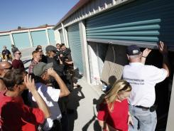"A storage shed is opened in January in Homeland, Calif., for an episode of the A&E series ""Storage Wars."""