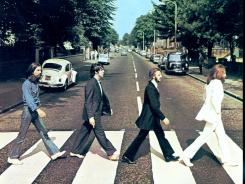 "The cover of the Beatles' ""Abbey Road"" album, based on a picture taken near EMI's Abbey Road studios."