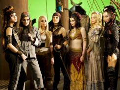"Left to right, Sasha Grey, Shay Jordan, Jesse Jane, BellaDonna, Stoya, Riley Steele and Katsuni from the porn film, ""Pirates II."""