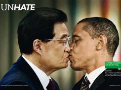 Benetton's new Unhate campaign features faked, computer-generated photos of kisses between President Barack Obama and Hu Jintao, leader of the People's Republic of China.