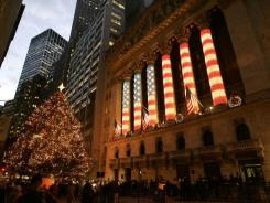 The New York Stock Exchange with Christmas decorations in 2005.