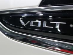 The Chevrolet Volt logo is displayed on the side of the vehicle during the media preview of the China (Guangzhou) International Automobile Exhibition in Guangzhou, Guangdong Province, China, on Monday, Nov. 21, 2011.
