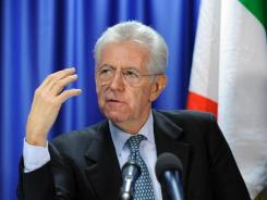 Italy's premier Mario Monti at a Wednesday news conference.