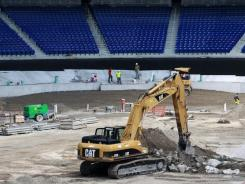 Construction on the Miami Marlins' new downtown stadium in Miami was underway on Sept. 7, 2011.
