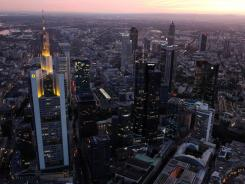 The skyline of Frankfurt, one of Europe's main financial capitals.