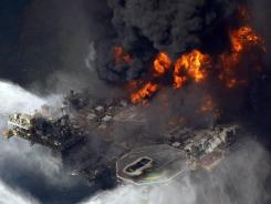 BP's Deepwater Horizon rig burns in the Gulf of Mexico on April 21, 2010. It later sank.