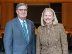 "President and CEO Samuel J. Palmisano and Virginia M. ""Ginni"" Rometty, his successor as of Jan. 1, 2012, at IBM's corporate headquarters in Armonk, NY, on Oct. 25, 2011."