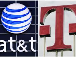 The logos of AT&T and T-Mobile on March 20, 2011.