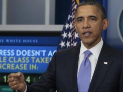 President Barack Obama speaks during a news conference in the White House briefing room.