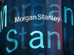 Stock tickers light up Morgan Stanley headquarters in New York in September 2008.