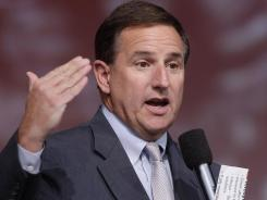 The ex-CEO of HP, Mark Hurd, speaks at a technology conference in San Francisco in October 2011.