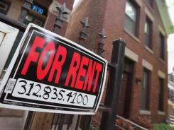 "A ""For Rent"" sign in Chicago."