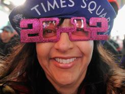 Giovanna Rodger joined thousands of revelers in New York's Times Square this New Year's Eve.