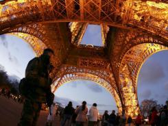 Underneath the Eiffel Tower in Paris.