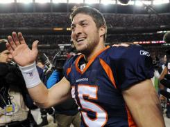 Denver Broncos quarterback Tim Tebow after the Jan. 8 home game against the Pittsburgh Steelers.