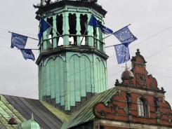 European flags fly on Copenhagen's Stock Exchange (Borsen) on Jan. 2, 2012, to mark Denmark's EU rotating presidency.