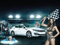 A man envisions driving an Optima around a track filled with manly fantasies such as model Adriana Lima.
