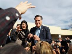 Republican presidential candidate Mitt Romney at a Charleston, S.C., campaign stop Thursday with the state's governor, Nikki Haley.