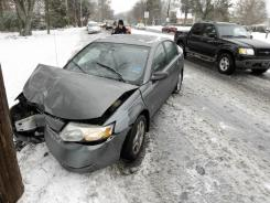 Aftermath of a wreck in Charlotte in a January 2011 snowstorm.