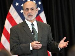 Federal Reserve Chairman Ben Bernanke speaks at a town hall meeting for soldiers and their families at Fort Bliss in El Paso, Texas Nov. 10, 2011.