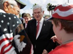 Republican presidential candidate and former Speaker of the House Newt Gingrich campaigns Monday in Tampa.
