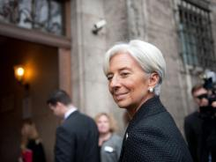 Christine Lagarde arrives to address a conference in Berlin Jan. 23, 2012.