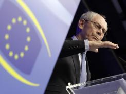The European Council's president, Herman Van Rompuy, at a Monday news conference at the EU summit in Brussels.