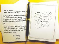 A business thank-you note these days is almost expected. Your challenge is to make your client want to read it and remember you.