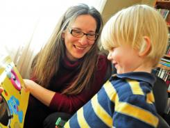 Liz Miller Boose, 40, at home in South Orange, N.J., with son Conrad.