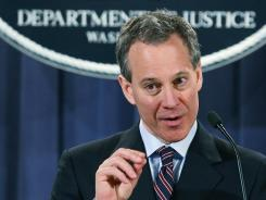New York Attorney General Eric Schneiderman speaks at a Justice Department news conference on Jan. 27, 2012, in Washington, regarding a fraud unit that will investigate residential mortgage-backed securities.