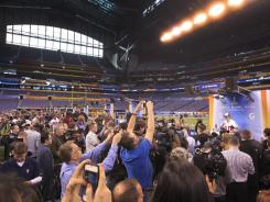 Media day in Lucas Oil Stadium in Indianapolis on Tuesday, site of this year's Super Bowl.