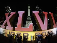 The Super Bowl logo at Monument Circle in Indianapolis.