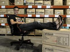 Kyle Berner, founder of flip-flop maker Feelgoodz, at his warehouse in Garner, N.C.