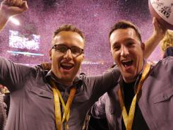 Kevin Willson (left), winner of $1 million from Doritos for creating the winning Ad Meter Super Bowl ad, and Jeff Edwards, who also worked on the spot, at the game.
