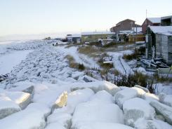 The village of Shishmaref, on Alaska's northwest coast, borders the Chukchi Sea. File photo.
